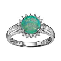 Sterling Silver Simulated Green Opal & Cubic Zirconia Halo Ring