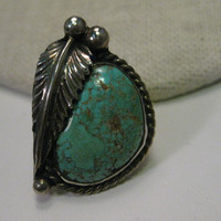 Vintage Sterling Silver Turquoise Ring, Southwestern, Native American, sz 6, 9.26 gr.
