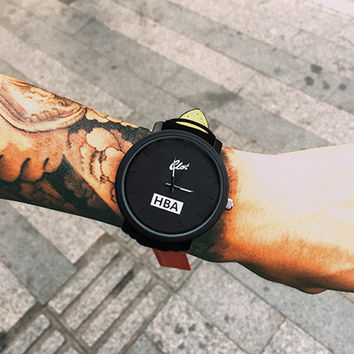 Quart Watches Fashion Brand HBA Leather Strap Unisex Watches Lovers Hours Clock Women Watches Montre Femme Relogio Relojes
