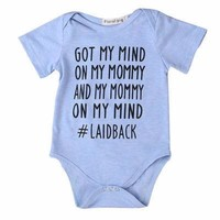 "Cute Newborn Infant Baby Boy Girl ""Got My Mind on my Mommy..."" Cotton Short Sleeve Summer Bodysuit NB to 18Mo"