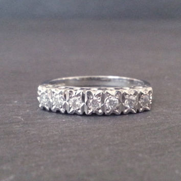 White Gold Diamond Half Eternity Ring, Gold Diamond Ring, Wedding Band Classic Elegant Engagement Ring, Anniversary Gift