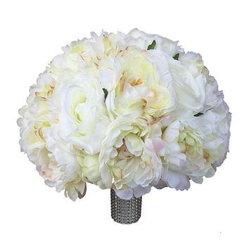 """11"""" Bouquet - Soft and Silky romantic Ivory Peony Rose Bouquet"""