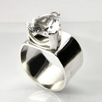 White Sapphire Ring in Sterling Silver, Trillion Statement Ring, Diamond Alternative Ring