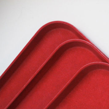 Midcentury Red Fiberglass Retro Cafeteria Tray Bed Tray Lap Tray Serving Ottoman Vintage