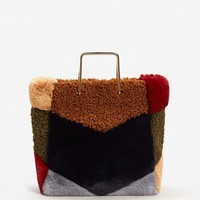 Metallic handle faux-fur bag - Women | MANGO USA