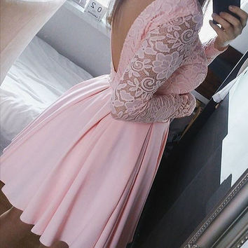 Pink Long Sleeve Lace Open Back Short Homecoming Gowns