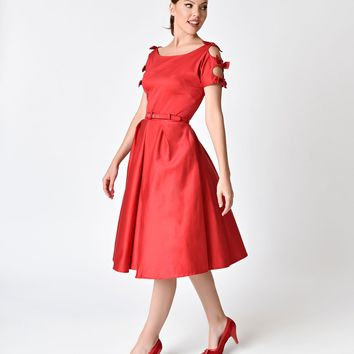 Unique Vintage 1950s Red Cotton Bow Sleeve Selma Swing Dress