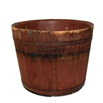 19th Century Red Painted Wood Sap Bucket Primitive Home Decor