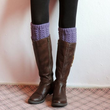 Knitted Boot Cuffs, Lilac Faux Leg Warmers, or Boot Toppers with Chunky Knit
