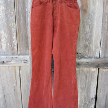 80s Levi's Corduroy Flares, W36 L30, Mint Condition // Vintage Levis White Tab Jeans (R) // Tile Red Pants