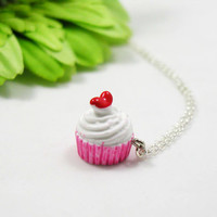 Vanilla Cupcake Necklace - Cupcake Pendant - Baking Gift - Best Friend Gift - Cupcake Charm - Baking Charm - Baking Class - Strawberry Cake