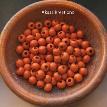 8mm Orange Round Mykonos Greek Ceramic Beads (Packs of 10) Circles Spheres Large Hole Bead Supply Sacral Chakra Creativity Stimulation