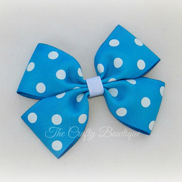 Turquoise Polka Dot Bow ~ Turquoise Boutique Bow ~ Turquoise & White Bow ~ Turquoise Hair Clip ~ Baby Toddler Bow ~ Large Turquoise Bow