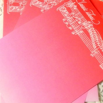 Vintage Music Stationery Sheets. Pink Stationery. Note Paper. Planner Stationery. Letter Writing. Journal Paper. Pink Paper. Music Note.
