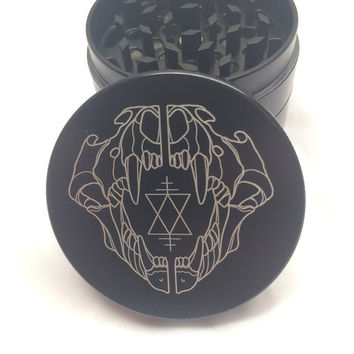 Laser Engraved Herb Grinder - Geometric Bear Skull Art Design 4 Piece Grinder