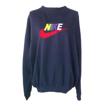 Vintage Nike Sweatshirt Jumper, 90s Embroidered Nike Spellout Sewn Large Swoosh Logo Crewneck Pullover Sweatshirt, 80s Hip Hop Clothing XL