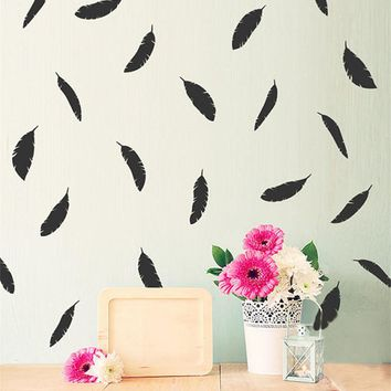 Feather Wall Sticker DIY Peel and Stick Art For Kids Room Home Decor Wall Decals Wallpaper Baby Room Poster Wall Decoration