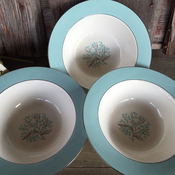 "Midcentury 1950's china pattern, Sevron Blue Lace large 9"" vegetable serving bowl, Vintage dinnerware Homer Laughlin Blue Lace Spring dishes"