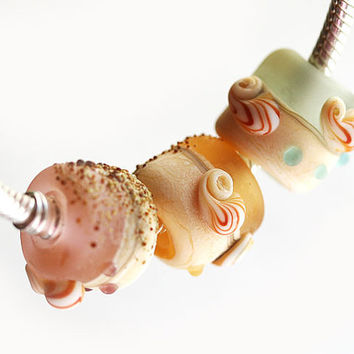 Beach Large hole bead - CHOOSE COLOR - handmade lampwork, Seaglass, Pink, amber yellow, aqua blue, European charm beads by MayaHoney