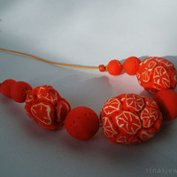 Chunky orange necklace, Chunky orange fruit necklace, Extra large orange bead necklace