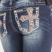 Dark Washed Cross Embellished Boot Cut