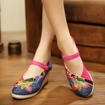 Round Toe Espadrille Slingback Wedge Sandal Women's Strappy Floral Printing Denim Embroidered Wedges Chinese Folk Style shoes