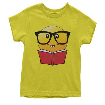 Emoticon Book Nerd with Glasses Youth T-shirt