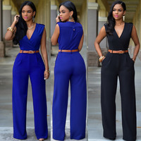 Blue V Neck Sleeveless Jumpsuits