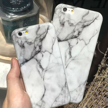 Unique White Marble Stone Case for iPhone 7 5s 5se 6 6s Plus case + Free Gift Box