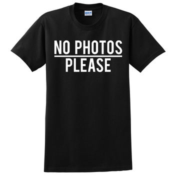 No photos please t shirt cool funny humor tees outfit for teens