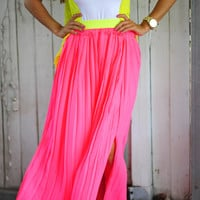 Pleats Don't Leave Me Skirt: Neon Pink | Hope's