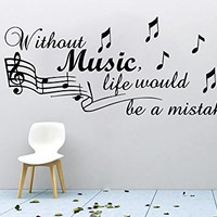 Music Wall Decal Quote Without Music Life Vinyl Note Treble Clef Decals Bedroom Decoration Wall Art Home Decor Sticker SM13