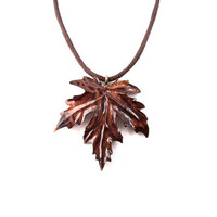 Wooden Leaf Pendant, Carved Leaf Pendant, Leaf Necklace, Wood Jewelry, Wood Pendant, Leaf Jewelry, Wood Carved Pendant, Wooden Leaf Necklace