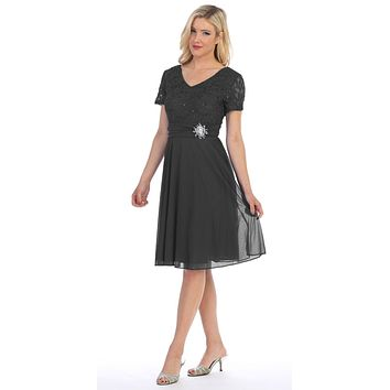 Celavie 6320 - Knee Length Black Dress With Short Sleeves Lace Bodice