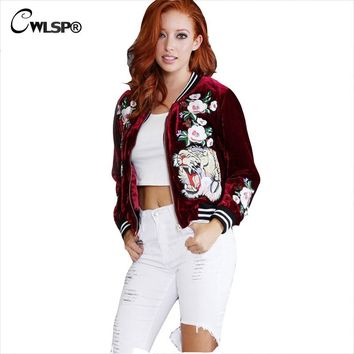 CWLSP Bomber Jacket For Women Coats 2017 Winter Autumn Velvet Stand Collar 3D Roses Tiger Embroidery Outwear chaquetas mujer