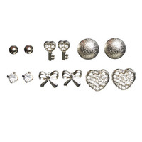 6 On Key Heart Earring Set | Wet Seal