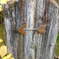 large handforged copper and sterling flying arrow necklace, tribal jewelry, tribal glam, tribal designs, native american jewelry