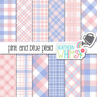 Pink and Blue Plaid Digital Paper – scrapbook paper with plaid & buffalo checks - baby digital paper - printable paper - commercial use