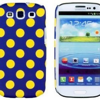 Blue/Yellow Polka Dot Embossed Slim Fit Hard Case for Samsung Galaxy S3 (AT&T, T-Mobile, Sprint, Verizon, US Cellular, International) [Retail Packaging by DandyCase with FREE Keychain LCD Screen Cleaner]