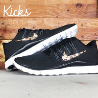 Nike Free 5.0+ Running Shoes Hand Customized With Leopard Pattern Swarovski Crystal Rhinestones - Glitter Kicks - Shoes