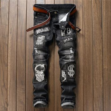 Black Ripped Jeans Men With Holes Skull Embroidery Patchwork Denim