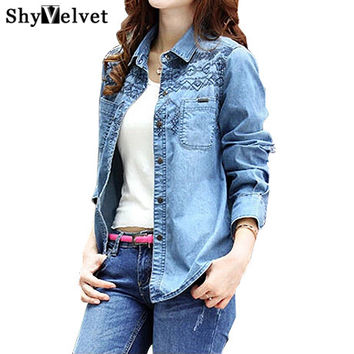 2016 new fashion denim shirt women's long sleeve denim blouse embroidered denim shirts female vintage Jeans blouse casual tops