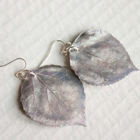 Antique Silk Aspen Leaf Earrings, Bridesmaid Earrings, Nature Jewelry