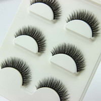 6 Pieces/1 set 3D Cross Thick False Eye Lashes Extension Makeup Super Natural Long Fake Eyelashes JNG