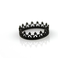 Black crown ring - oxidized sterling silver ring