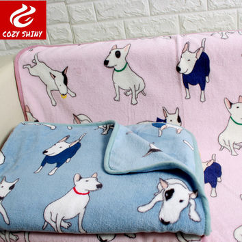 coral fleece soft many dogs bull terrier dog blanket pet throw blankets grey pink 75x100cm &140x200cm
