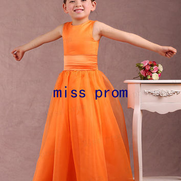 Jewel sleeveless floor-length organza and satin with sash flower girl dress