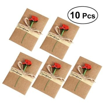 10PCS Greeting Cards Thank You Cards with Dried Flower For Mom Teacher Friends Familes Gift Cards