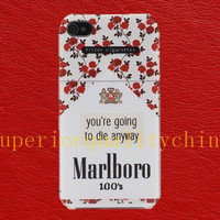 red flower floral Marlboro iPhone 5 case iphone 5s case Marlboro Cigarettes pattern iPhone 4s case iPhone 4 cover iphone 4 case