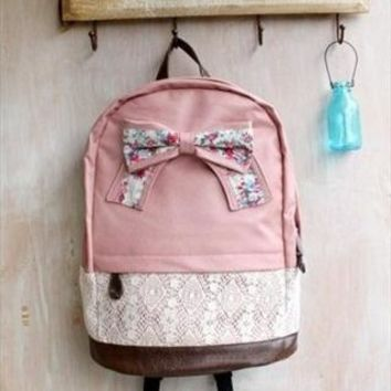 Fashion Pink Lace Backpack with Red Floral Bow  from styleonline